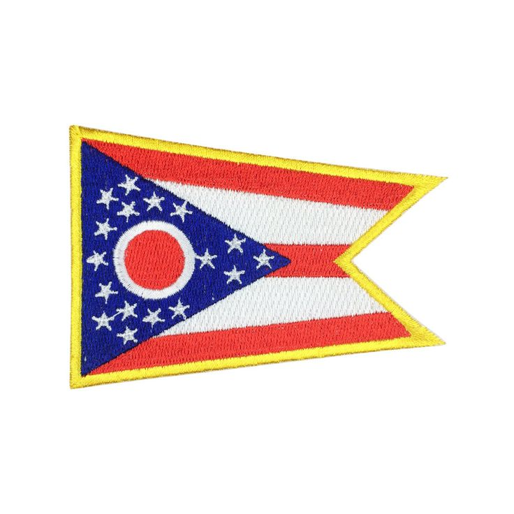 State of Ohio Flag Patch US Embroidered Patch Gold Border Iron On patch Sew on Patch badge Patch meet you on www.Fleckenworld.com