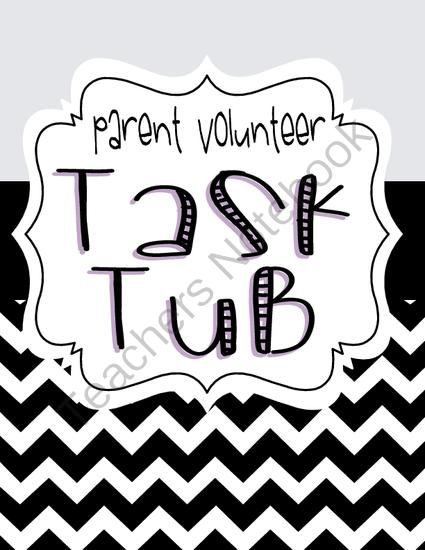 """Parent Volunteer Task Tub from mz applebee on TeachersNotebook.com -  (29 pages)  - Get parents involved with this engaging """"Parent Task Tub"""" package.  The set includes the following:  - Task Tub Set-Up and Starter Directions - 30 Task Cards with ideas for parent volunteer jobs - 2 EDITABLE Task Cards to fill in with your own i"""