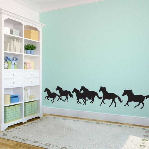 Large Wild Running Herd of Horses Shilouettes  -  Wall Decal Custom Vinyl Art Stickers