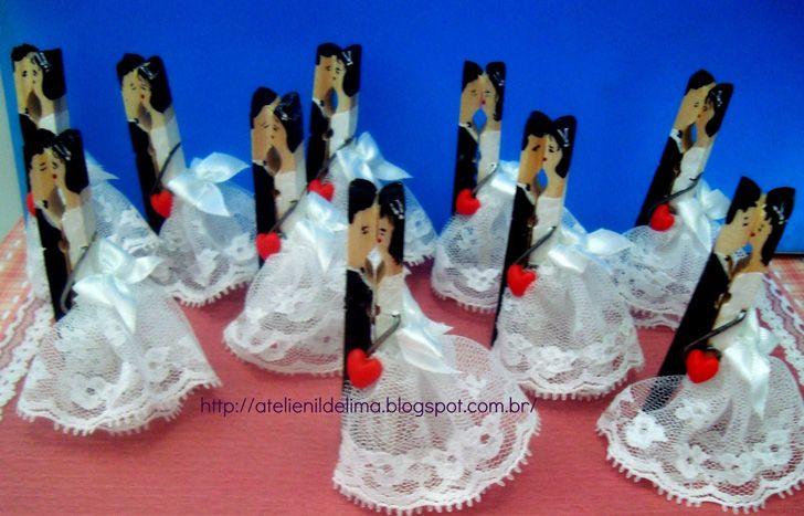 Lembrancinha de casamento usando pregador de roupas - Faça Você Mesmo