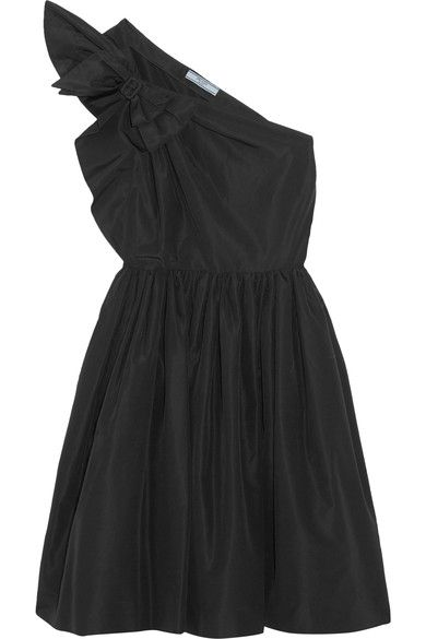 Prada - One-shoulder Bow-embellished Silk-faille Dress - Black - IT36