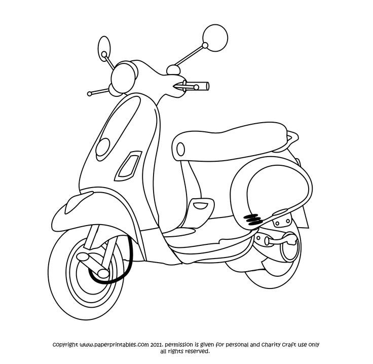 Scooter | Ausmalbilder, Fahrzeuge, Bilder