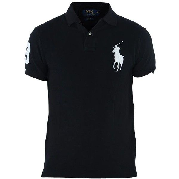 Ralph Lauren Polo ($83) ❤ liked on Polyvore featuring men's fashion, men's clothing, black shirts, ralph lauren mens clothing and slim fit mens clothing