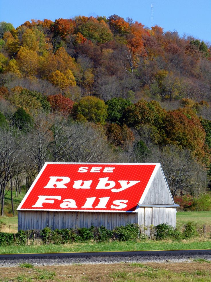 See Ruby Falls Barn | Along Interstate 24 in Coffee County, TN is this Ruby Falls barn in a strategic bend in the road near mile marker 100.