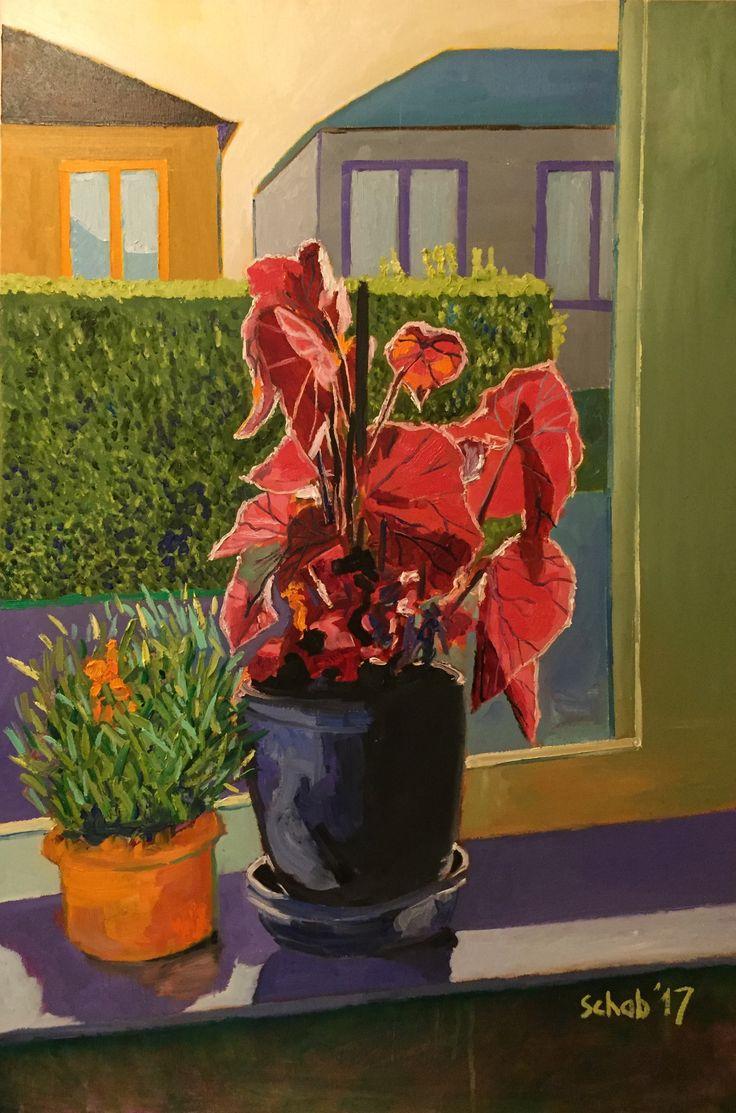 Flowers on the window- 90x60cm, oil on canvas