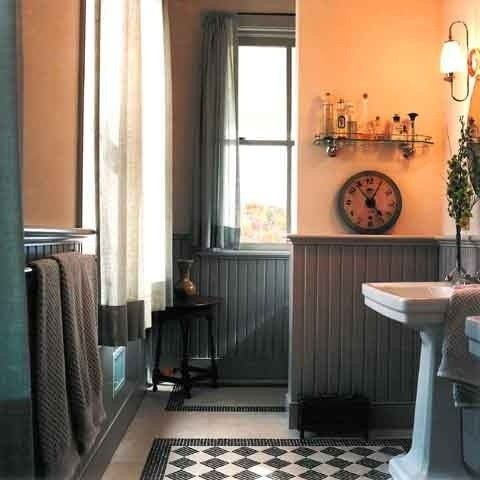 Love the color and chair rail ... looks so cozy ... http://www.bathroom-paint.net/bathroom-paint-color.php