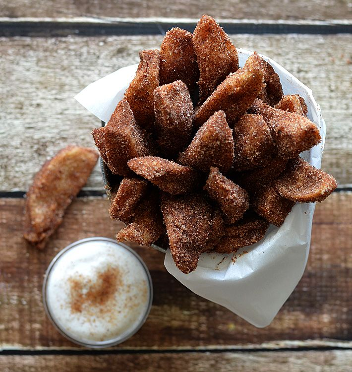 "Vegan Cinnamon-Sugared Apple ""Fries"" with a Vanilla Coconut Milk Whipped Cream"