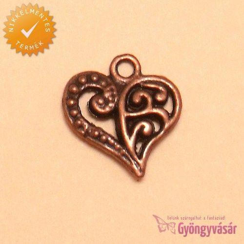 Bronzszínű, filigrán szív - nikkelmentes fém fityegő