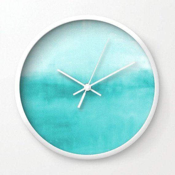Teal Wall Clock Turquoise Wall Art Modern Wall Clock Home Decor