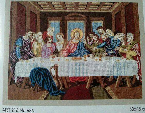 Ο μυστικός δείπνος.Σταμπαριστή εικόνα χρωματιστή,πάνω σε καμβά,τιμή 16.50. Γιούλη Μαραβέλη,τηλ 2221074152