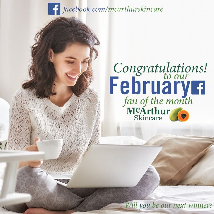 McArthur Skincare February Fan of the Month  Congratulations to Julie Smith who won our February Facebook Fan of the Month, and gets to pick two free products from our range.  We have winners everywhere with McArthur Skincare as we love rewarding our wonderful followers.  It's easy to win - all you have to do is tag a friend or comment on any Facebook post of ours this month to automatically go into a draw at the end of the month.