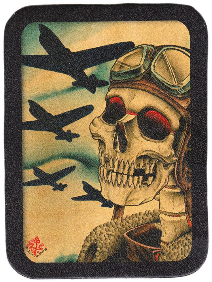 BLACK MARKET PILOT LEATHER PATCH  There's dark and dreary skies ahead! This undead bomber pilot patch is just the vintage touch your jacket or bag needs. Featuring a sticky back for easy sew on hold, this patch has artwork from artist 2 cents. $10.00 #blackmarket #patch #pilot #wwii