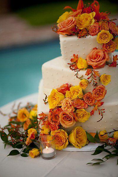 Orange White Yellow Square Wedding Cakes Photos & Pictures - WeddingWire.com