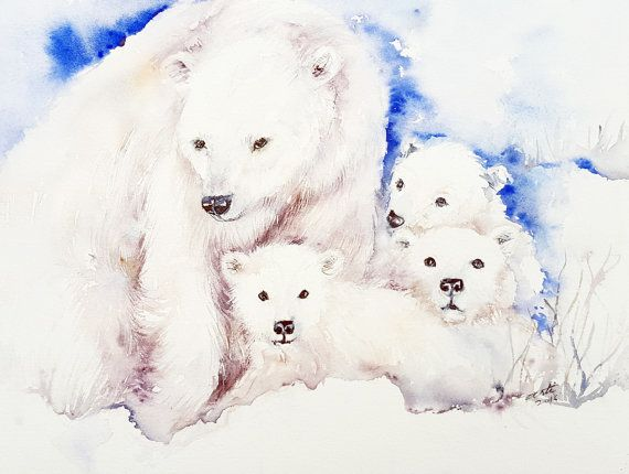 Oso blanco familia animales arte amor arte de pared acuarela Original