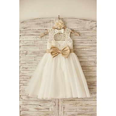 Flower Girl Dress Princess Knee-length - Lace / Tulle Sleeveless Scoop with Bow(s) / Sash / Ribbon – USD $ 54.99