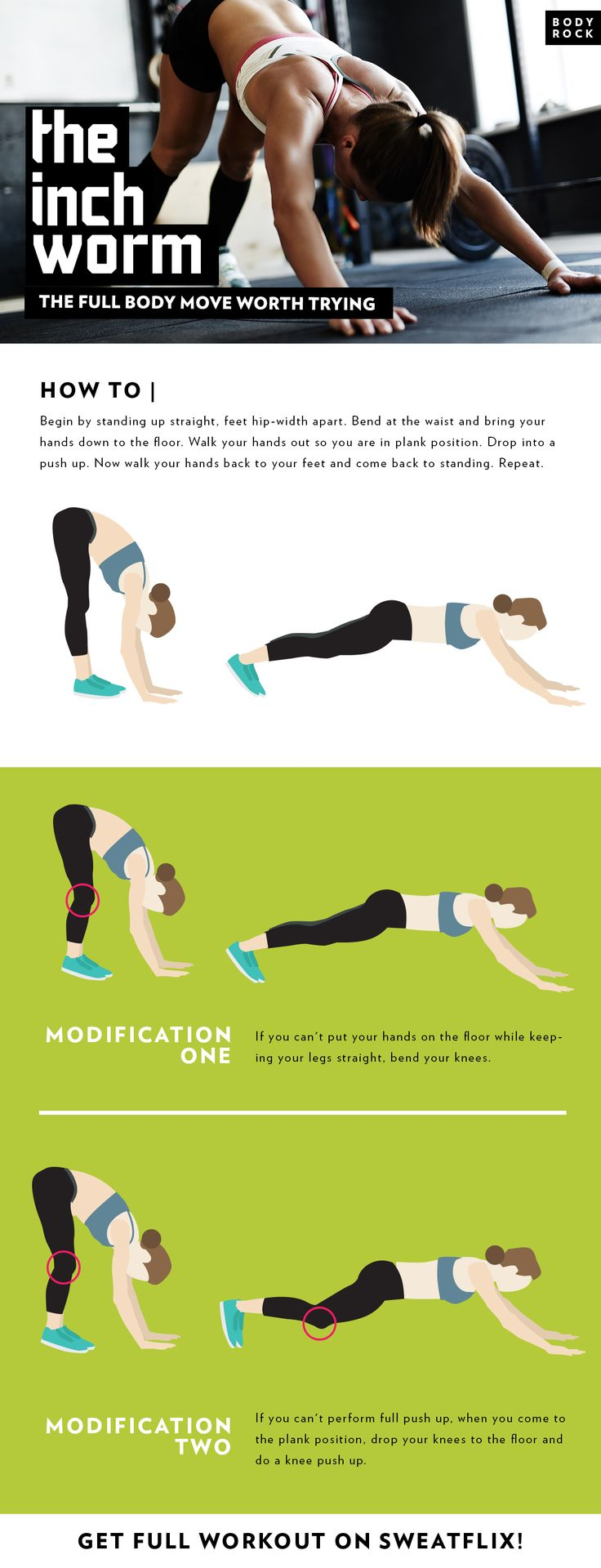 If you're looking for a move that will engage and challenge your entire body, the inch worm is it! Not only will you get a solid core workout, you will also feel it in your arms, shoulders, chest, hamstrings and calves!