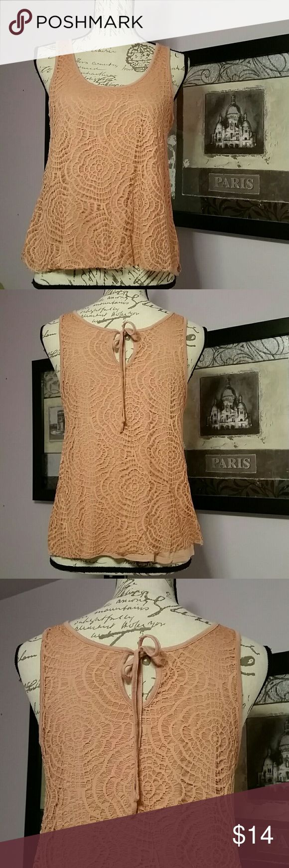 """LC Lauren Conrad 2 layer tank LC Lauren Conrad 2 layer tank with tie back. Dark peach color. This is a shorter length shirt at approx 21"""" from shoulder to hemline LC Lauren Conrad Tops"""