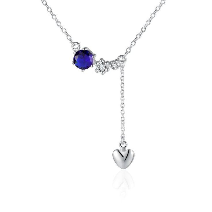Купить Синий камень падения в форме сердца кулон ожерелье цепь ключицы для…