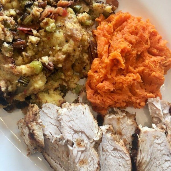 "Instant Pot®️️ Thanksgiving Dinner | ""Take the stress out of holiday cooking by turning to this awesome multi-tasking device. The key to getting the roasted flavor is to use a barbeque dry rub, such as the seasoning from Rendezvous in Memphis, Tennessee."" #recipe #instantpot"