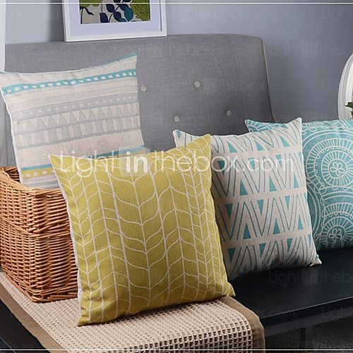 Cotton/Linen Pillow Cover , Geometric Country - USD $43.99
