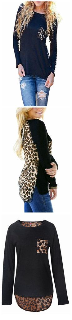 Bold and great looking leopard print top featuring long sleeves and leopard print pocket and back. Details: - Long sleeve - Leopard patchwork - O ?C Neck - Pockets - Fabric: Cotton,Polyester Free Ship