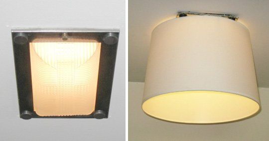 Cover ugly apartments lighting with a lampshade and magnets with removable adhesive, like Command Strips! Brilliant!!!