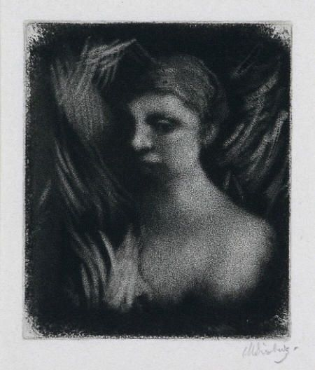 Max Svabinsky (1873 - 1962), Head of a Girl, mezzotint, 1912, opus 79c, 11,5 x 10 cm
