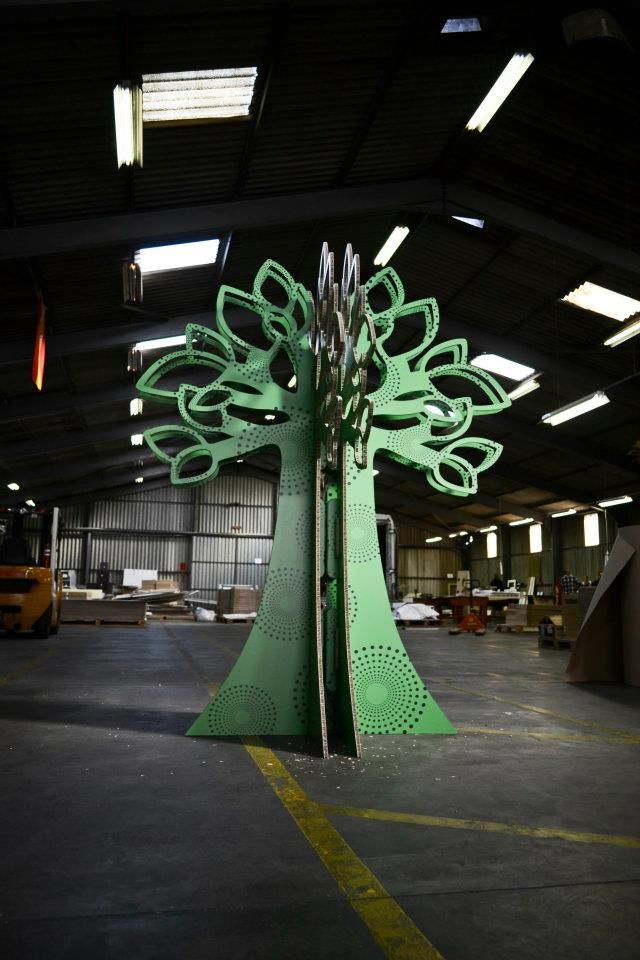 Inkjet printed decorative two-piece tree for an exhibition booth