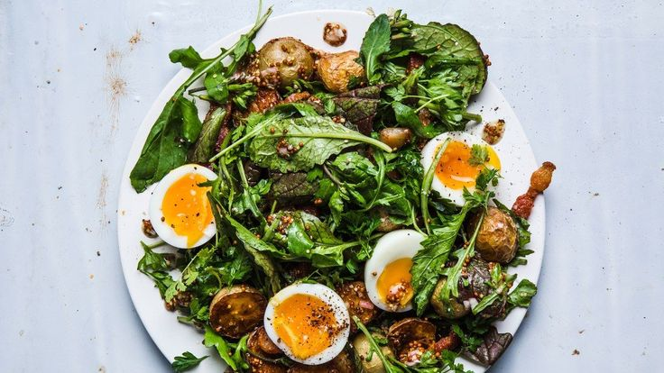 Summer Greens with Mustardy Potatoes and Six-Minute Egg