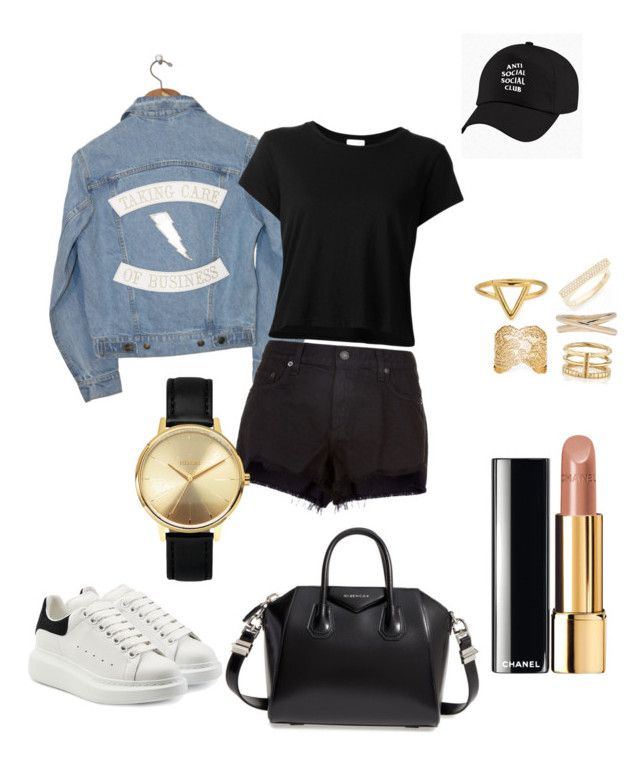 """OOTD"" by madisonkiss on Polyvore featuring Understated Leather, RE/DONE, rag & bone, Alexander McQueen, Bony Levy, Maison Margiela, Yves Saint Laurent, ChloBo, Aurélie Bidermann and Chanel"