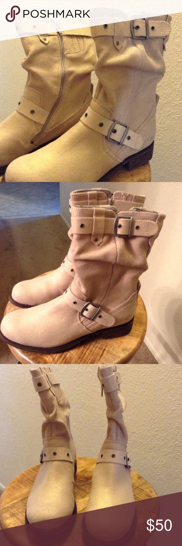 CATerpillar Boots - NWOT NWOT, low heel, super soft inside lining, zip close, suede like material is a dove/cream color with a slightly iridescent gold sheen to it in certain light. Caterpillar Shoes Combat & Moto Boots