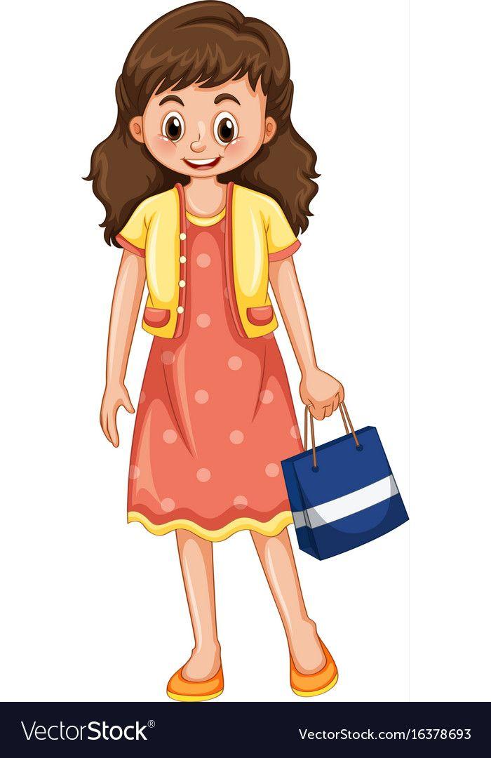 Happy Woman With Shopping Bag Royalty Free Vector Image Family Cartoon Cartoon Family Tree Clipart