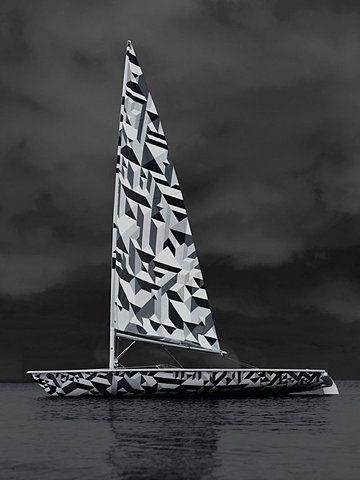 Dazzle Camouflage Sailing Boat