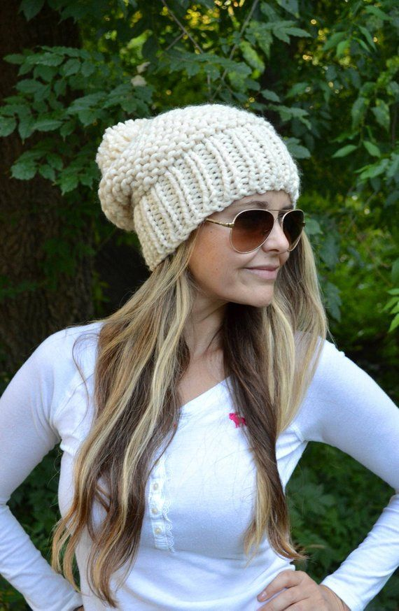 4e15915fe9a The Garter Stitch Slouchy Oversized Pom Pom Beanie Hat. One size fits most  adults and children from about 6 years up. Variety of colors.