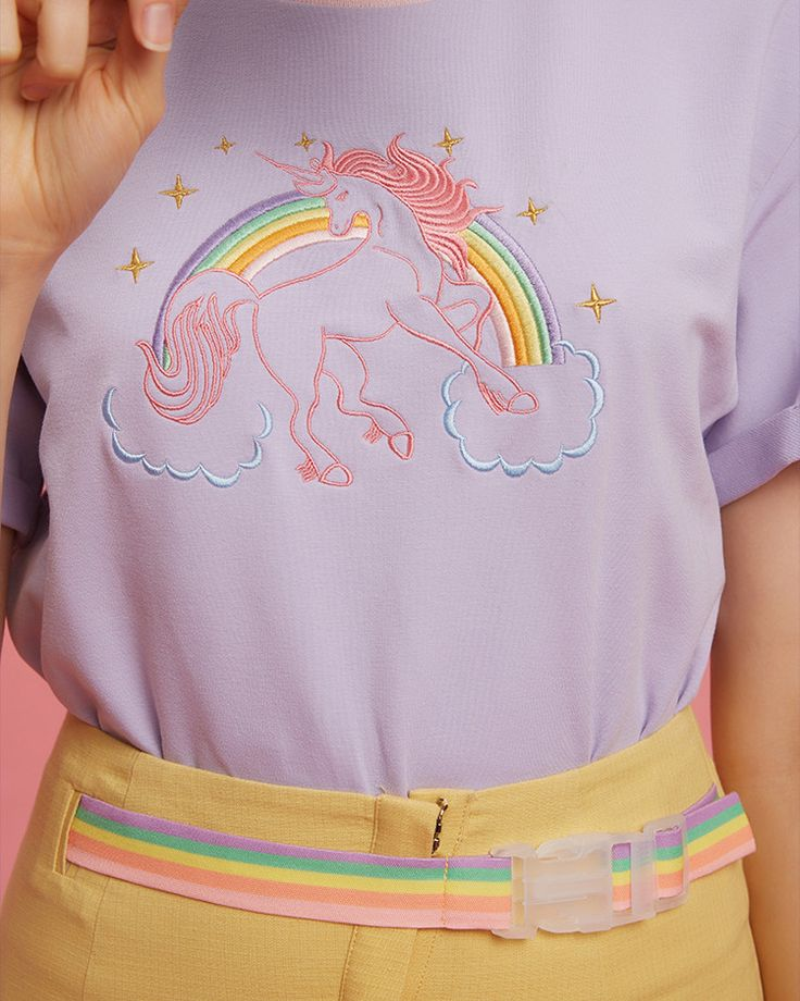 purple Unicorn Embroidered T-Shirt boogzel apparel buy shop uk usa