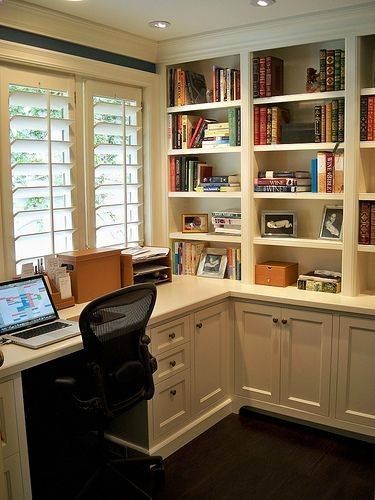 This would actually be the perfect layout for the Den walk-in closet/my office in the new house. Don't think I'll have so many open shelves.