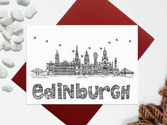 Edinburgh skyline card  Edinburgh landmark card  Scottish