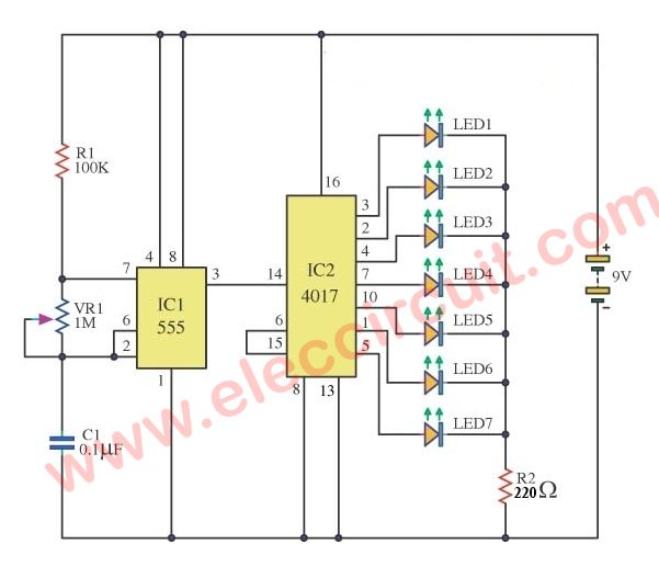Led Chaser Circuit With Pcb Layout Running Lights Eleccircuit Com Circuit Running Lights Led