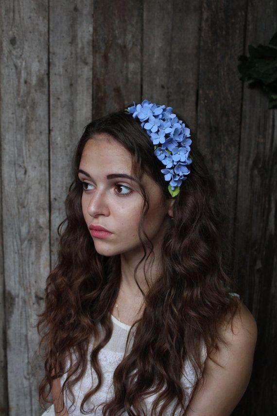 Wedding headband. hydrangea flowers . blue hydrangea.  Three in one: corsage, necklace or headband.   polymer clay flower.