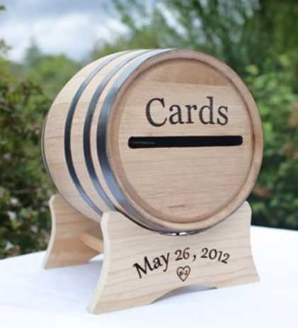 Love this personalized wine barrel for wedding cards. This would be great at the wedding!!!