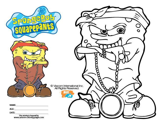 Spongebob Gangster Coloring Pages Dogss Pinterest Coloring