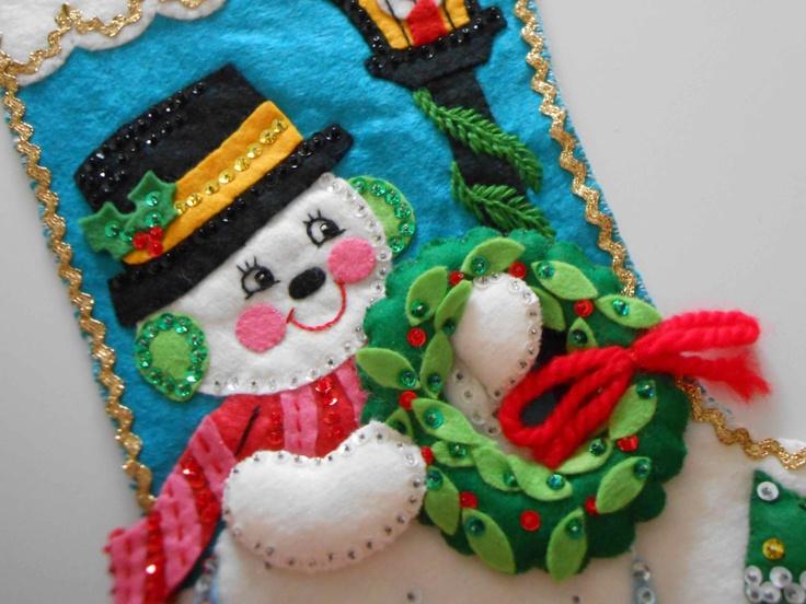 Vintage Christmas Stocking Felt Sequins Snowman Felt. $30.00, via Etsy.