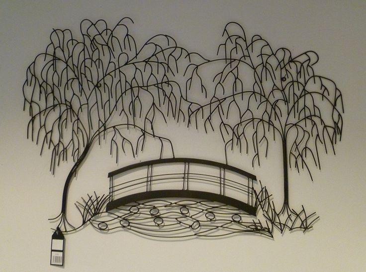 Waaiende Bomen Met Brug Wanddecoratie Van Metaal