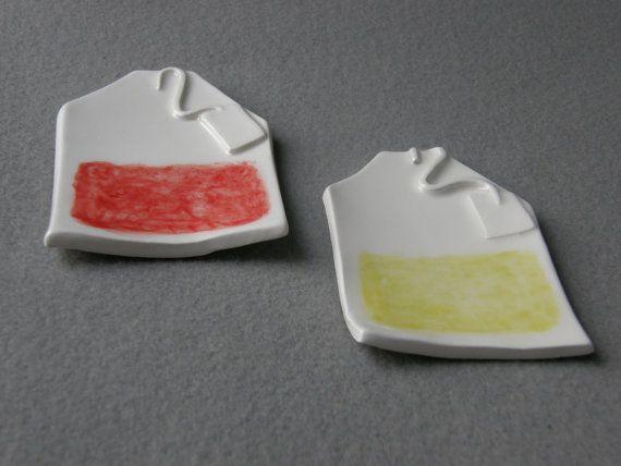 Coppia di 2 ceramiche tè borsa titolari a forma di TatjanaCeramics