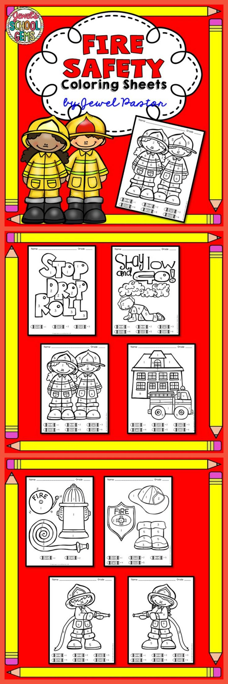 "Fire Safety  ""Fire Safety Coloring Sheets"" is the perfect activity for your students this Fire Safety Week. Just print the sheets and you are ready to go! Please see Preview to see all 8 sheets you are getting."