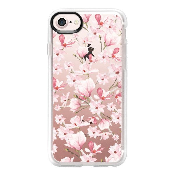 Girly blush pink watercolor modern elegant floral - iPhone 7 Case And... ($40) ❤ liked on Polyvore featuring accessories, tech accessories, phone, phone cases, iphone case, floral iphone case, iphone cover case, pink iphone case, clear iphone case and clear floral iphone case