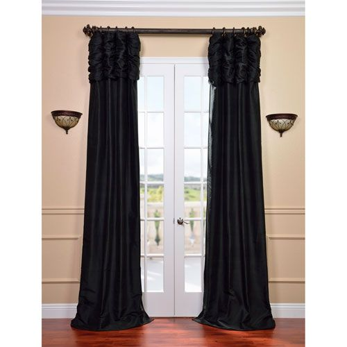 Exclusive Fabrics & Furnishings Ruched Midnight Black 120 x 50-Inch Thai Silk Curtain Single Panel