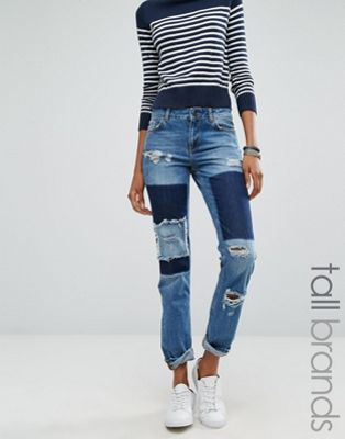 Noisy May Tall Girlfriend Patchwork Jeans