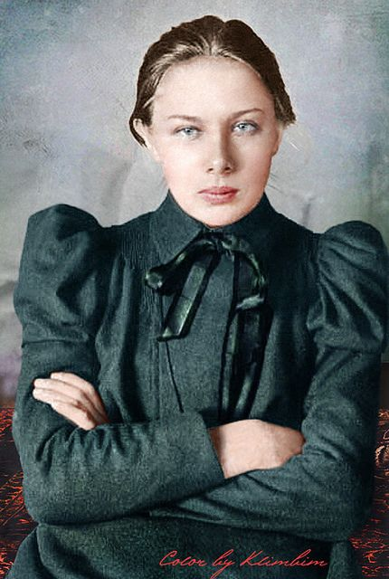 Nadezhda Krupskaya, Vladimir Lenins wife. Did she ever relax? Probably not. See other picture. She's the same when she's older.