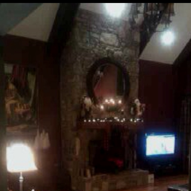 Floor to ceiling fireplace :)